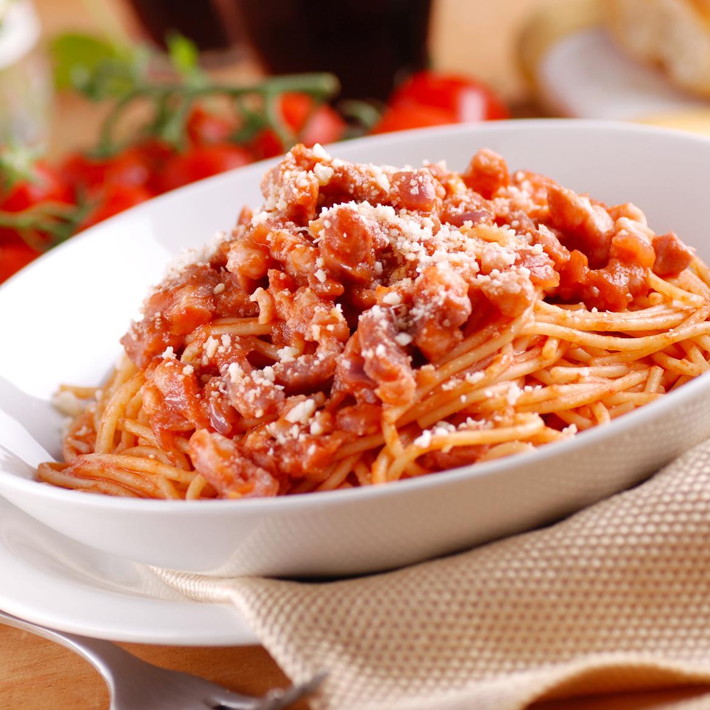 Ricetta Amatriciana Con Cipolla.Pasta All Amatriciana Con Pancetta Aia Food